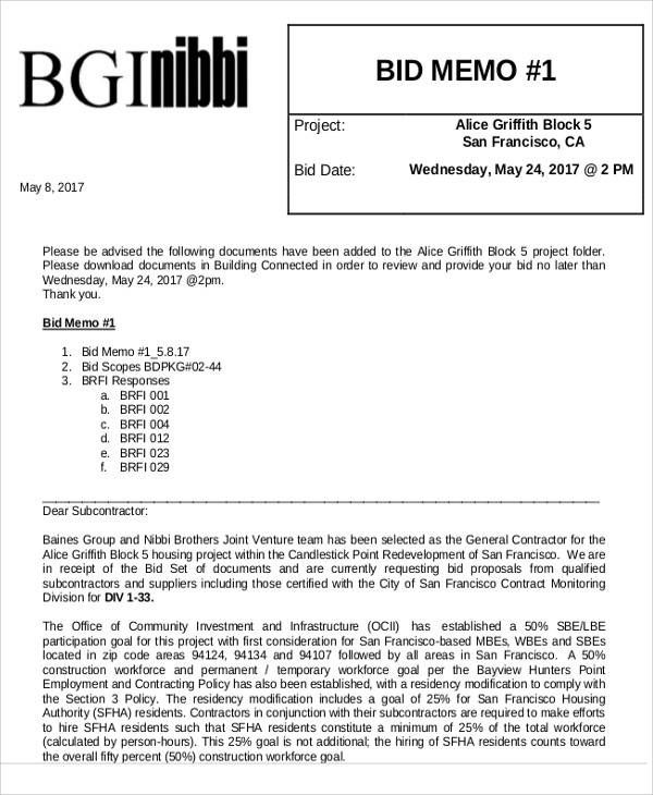 Bid Memo Templates Memo Template Memo Memorandum Writing