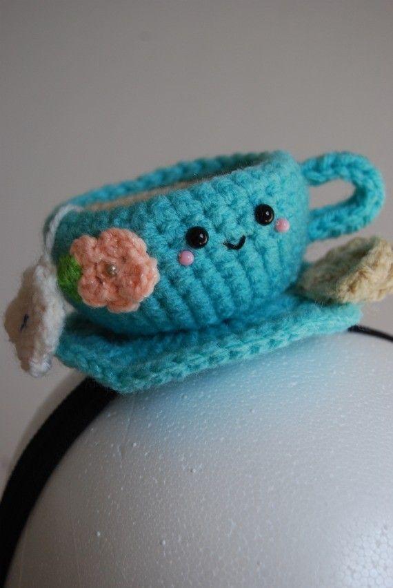 crochet cup of tea headband.