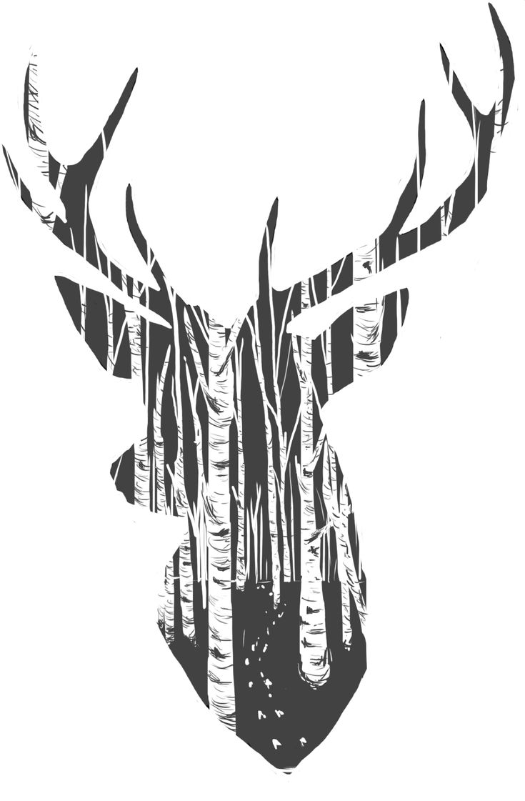 Stag, trees