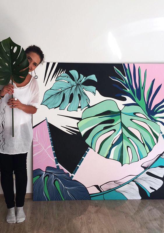 Handpainted Panel Monstera Leaves Inspiration| Panou Pictat Inspiratie Frunze Monstera