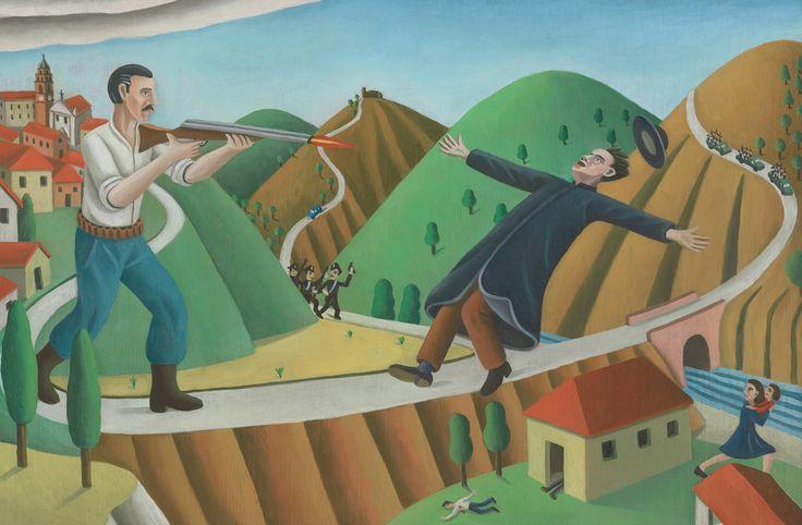 """Tav. LXXXVIII - Un giorno di fuoco Era l'anno 1933. """"Alla fine di giugno Pietro Gallesio diede la parola alla doppietta. Ammazzò suo fratell..."""