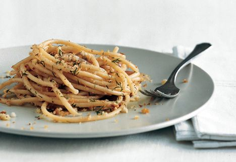 Pasta with Spicy Anchovy Sauce and Dill Bread Crumbs Recipe | Epicurious.com