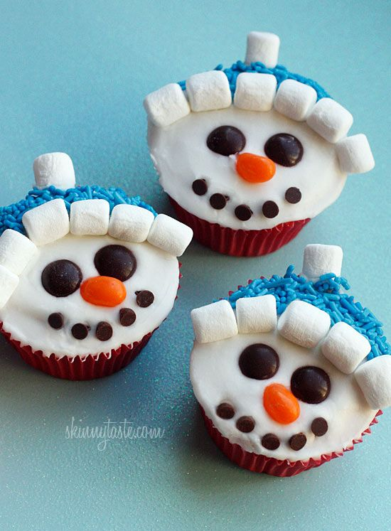 snowman cupcakes :) Good Holiday snack:) To make them , use a diet soda instead of eggs, oil, water, ect.... THE only items are the soda and cake mix----- diet dr. pepper or diet coke for dark mixes and Sprite zero for  light or white mix :) use fat free cool whip for the icing and marshmellows are fine and then everything else is fine also :)