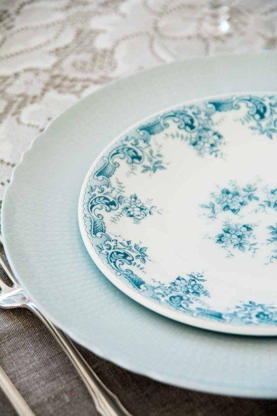 nydelig skyblå #borddekking #vintage #table setting