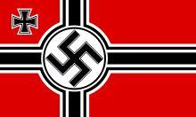Reichskriegsflagge (drapeau de guerre) et pavillon maritime du Troisième Reich (1938-1945).