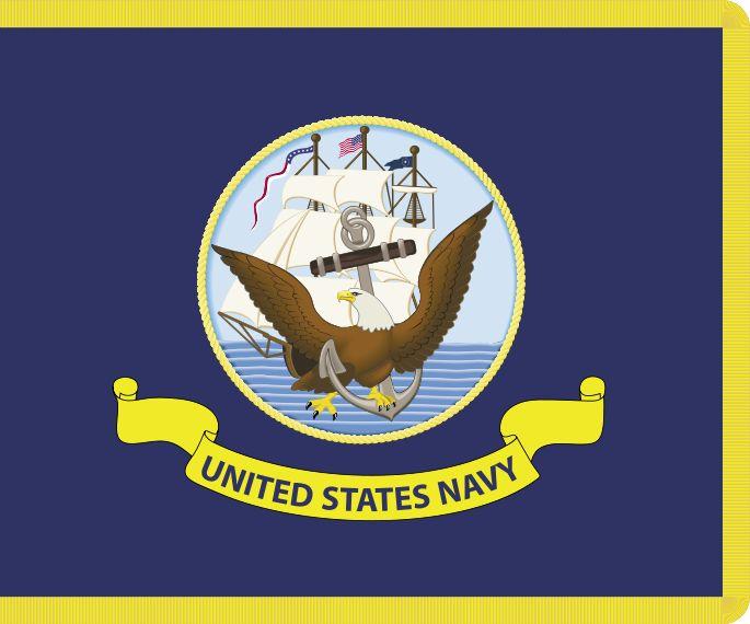 La Bandiera della Marina Militare statunitense è composta dallo stemma del Dipartimento della Marina statunitense posto su uno sfondo blu. Fu ufficializzata il 24 aprile 1959 dal presidente Eisenhower ed entrò in uso il 30 aprile dello stesso anno.  Essa viene oggi utilizzata solamente all'interno degli uffici della marina e sulle navi durante particolari cerimonie commemorative e quando si trovano ormeggiate all'interno dei porti.  Non viene mai issata quando la nave si trova in…