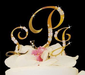 Affordable Elegance Bridal - Gold Plated Crystal Monogram Cake Topper, $89.99 (http://www.affordableelegancebridal.com/gold-plated-crystal-monogram-cake-topper/)