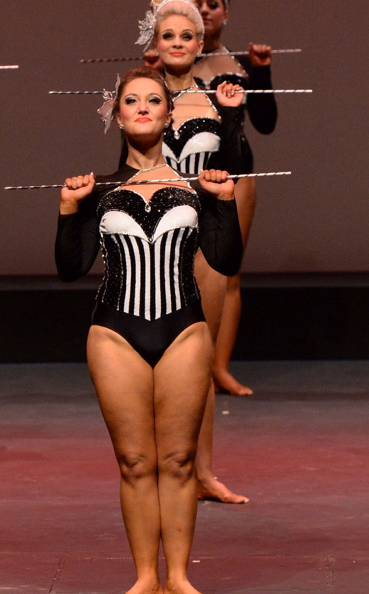 Black and white stripe leotard dance costume. Maybe add pink for younger girls?