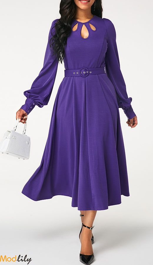 4aac2d9e23dd Cutout Neckline Zipper Back Deep Purple Dress On Sale At Modlily. Free  shipping and cheap. Action now.
