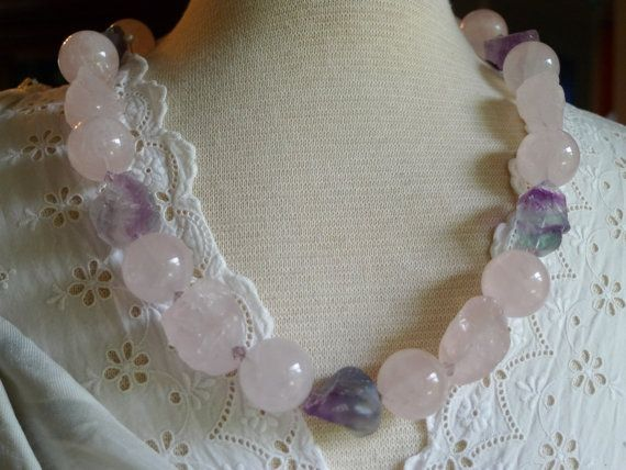 Chunky rose-quarts and fluorite statement necklace via Etsy