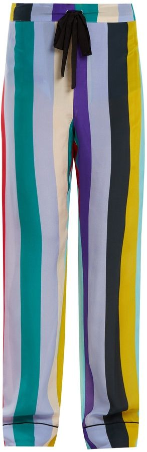 DIANE VON FURSTENBERG Straight-leg striped pyjama trousers