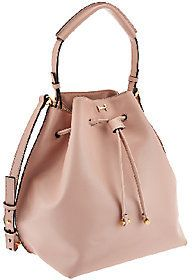 H by Halston Smooth Leather Drawstring Bucket Handbag