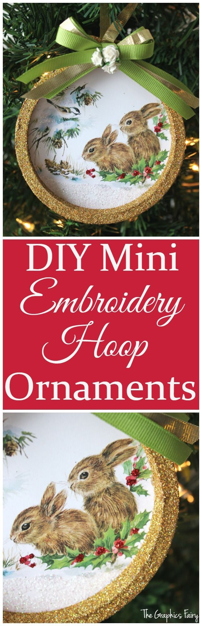 Mini Embroidery Hoop Ornament - The Graphics Fairy