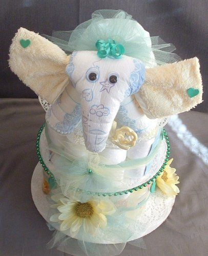 Baby Elephant Cake Decoration : Baby Shower Elephant Theme Diaper Cake Decorations Jungle ...