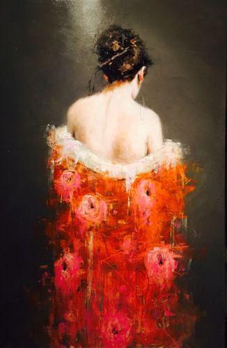 Geisha in orange kimono by James Doherty