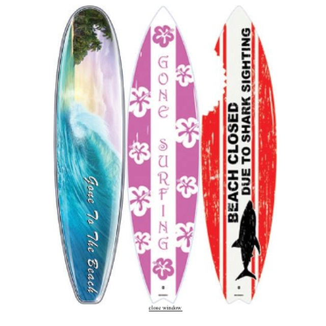 Large surfboard wall decals from for Surfboard decor for bedrooms