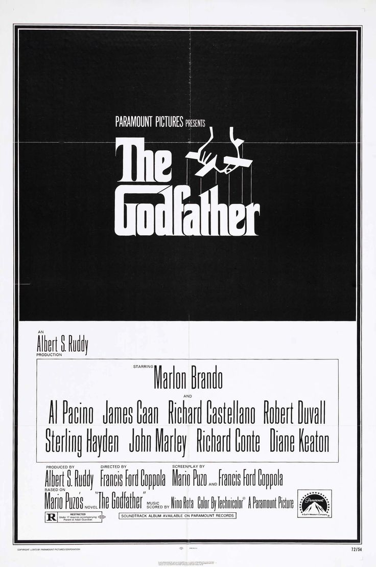 """The Godfather"" in 1972 directed Francis Ford Coppola (Detroit 1939). American epic crime film based on the 1969 novel by Mario Puzo. The story, spanning the years 1945 to 1955, chronicles the experiences of the Italian-American Corleone family. The film is now ranked as the second greatest film in American cinematic history by the American Film Institute. It won both the Academy Award and the Golden Globe for Best Picture, Best Director, Best Actor (Marlon Brando), and Best Adapted…"