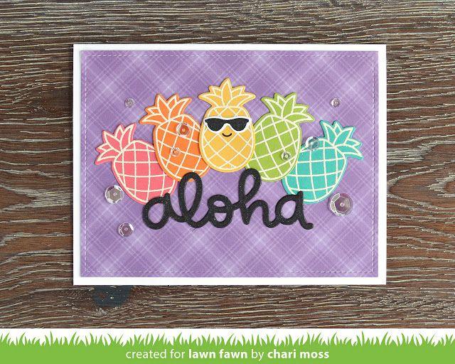 the Lawn Fawn blog: Lawn Fawn Video {6.28.17} A Rainbow Aloha card by Chari Moss.