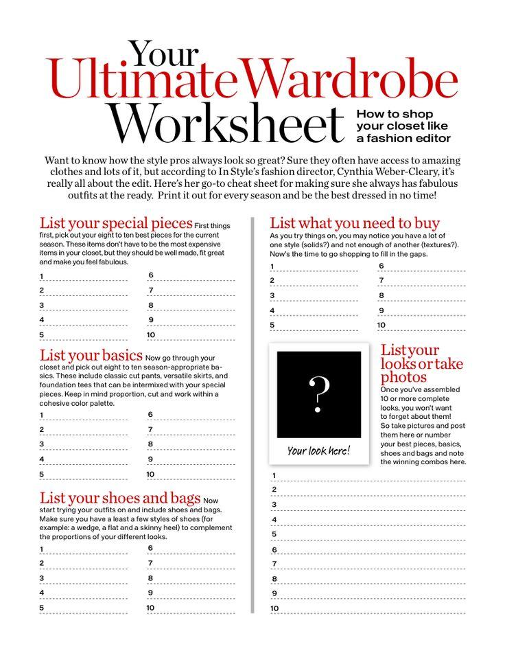 Your ultimate wardrobe worksheet (download PDF)