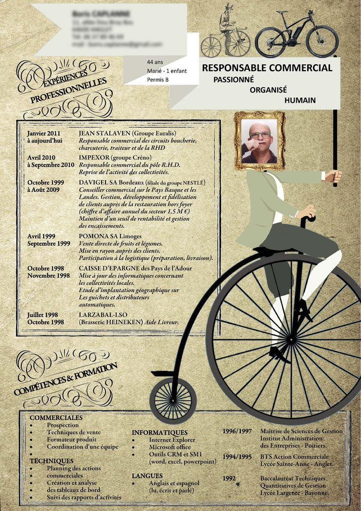 Création CV pour société Moustache vélo - création FRANCK LAFOREST
