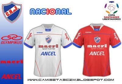 CD Nacional of Uruguay home and away shirts for 2010.