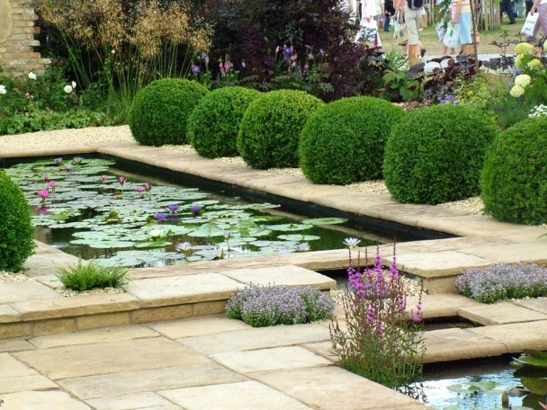 formal fish pond water garden design boxwood parterre