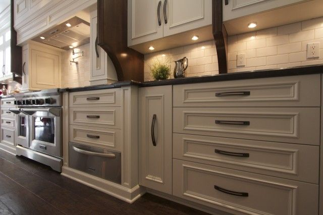 Robeson Design - bathrooms - stainless steel, warming drawer, ivory, kitchen cabinets, pot filler, subway tiles, backsplash, warming drawer ideas,