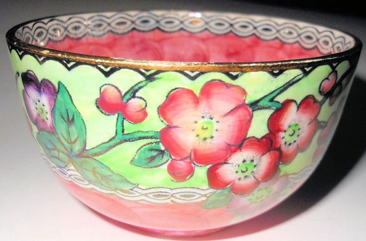Lovely Maling Pink Thumbprint Sugar Bowl with Apple Blossoms, England