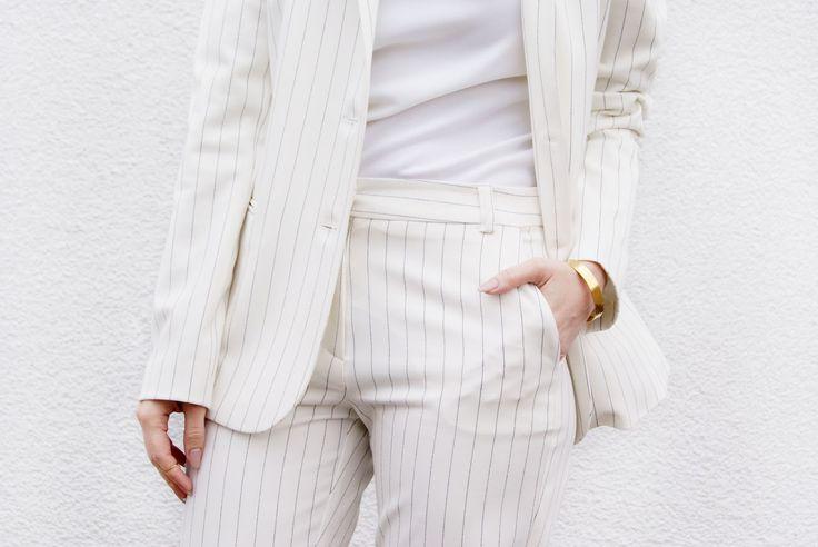 Rosemunde BUSINESS LOOK! WHITE PINSTRIPE SUIT - Mesmerize Fashion