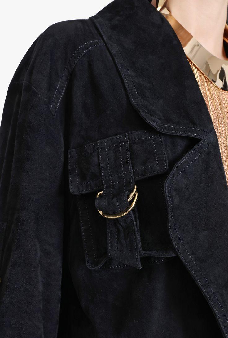 Oversized suede jacket | Women's leather coats | Balmain