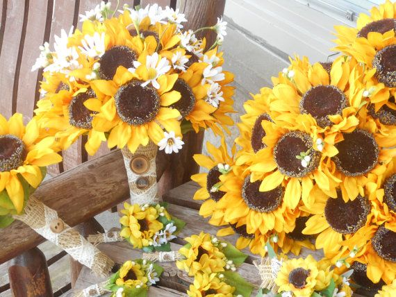 Hey, I found this really awesome Etsy listing at https://www.etsy.com/listing/124472493/sunflower-bridal-bouquet-and-grooms-bout