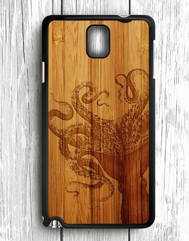 White Black Octopus Wood Design Samsung Galaxy Note 3 Case