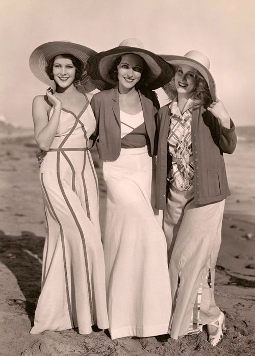Frances Dee, Adrienne Ames and Judith Wood at the beach, 1930s. 30s beach pajamas high quality found photo models movie stars
