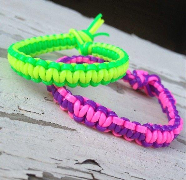 Weave a Square Knot Plastic Lace Bracelet tutorial