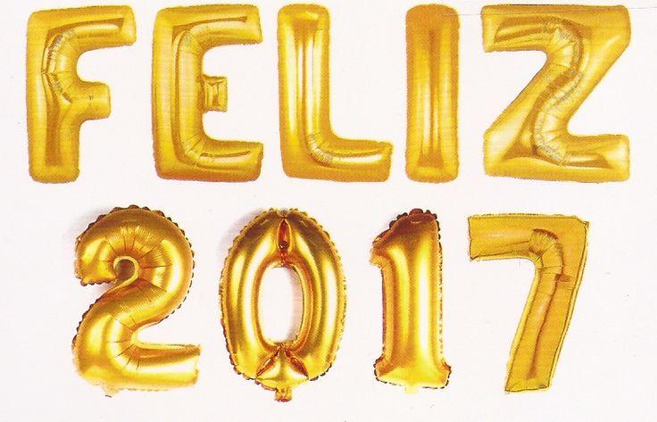 Balão metalizado Feliz 2017 dourado com 95 cm flutua quando inflado com gás Hélio