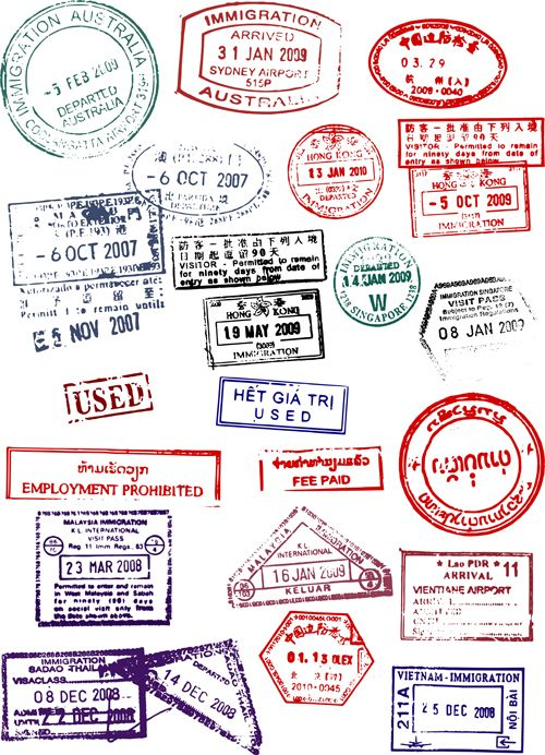 Vector Passport stamps design set 02