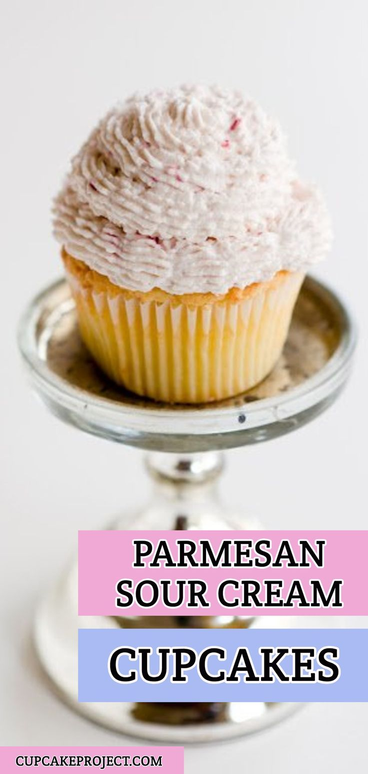 Parmesan Sour Cream Cupcakes With Raspberry Whipped Cream Frosting Recipe Easy Cupcake Recipes Best Cake Recipes Frozen Drink Recipes
