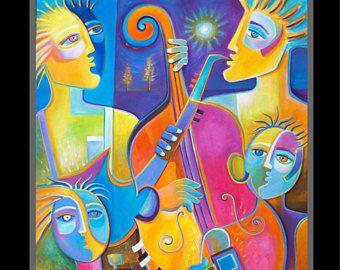 Arte moderno arte grande de cubismo Original figurativa pintura 30 x 36 Marlina Vera Jazz músicos Musical Pop arte cubista cello sax guitarra fauve