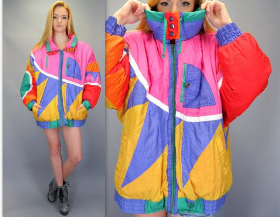 Vintage 80s 90s Bright Bold Geometric Pink Orange Yellow Purple Puffy Windbreaker Ski Puffer Jacket Fresh Prince of Bel Air Snowboard Hipster Heavy Retro Colorblock by BlueFridayVintage