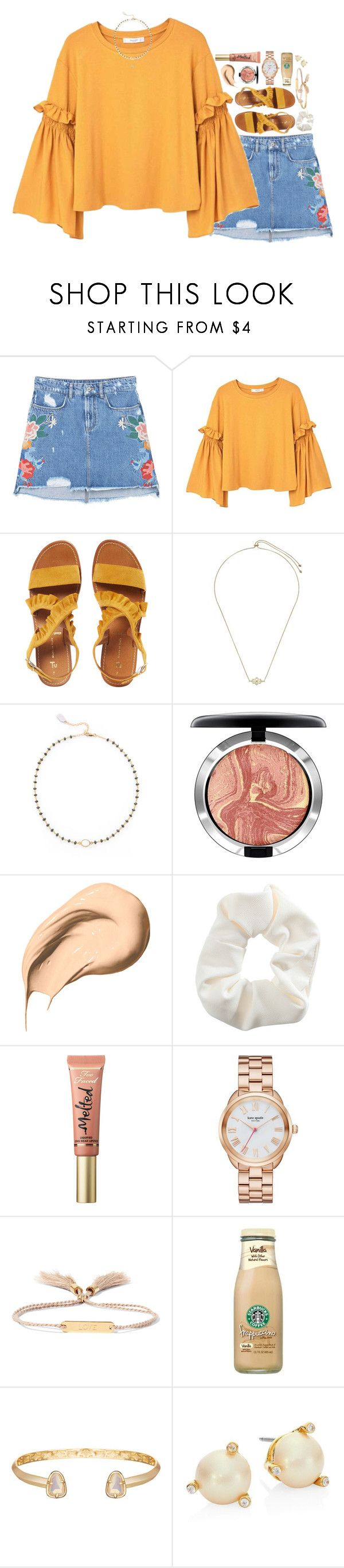 """""""everyone's getting asked to hoco and I'm just over here like """" by sdyerrtx ❤ liked on Polyvore featuring MANGO, Kendra Scott, Ela Rae, MAC Cosmetics, Bobbi Brown Cosmetics, Topshop, Too Faced Cosmetics, Kate Spade and Chloé"""