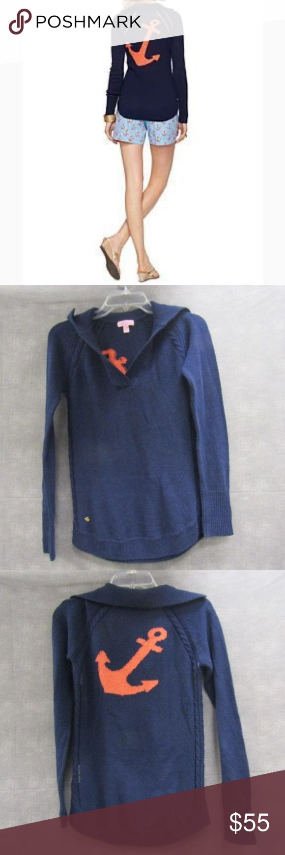 Lilly Pulitzer Navy Blue Anchor Sweater S Size small  100% cotton Lilly Pulitzer Collared sweater Lilly Pulitzer Sweaters