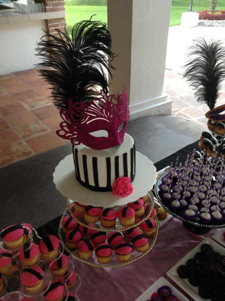 Candy Buffet para celebrar 15 años. Con tema de antifaces. #Birthday, #mascarade, #party, #candybar