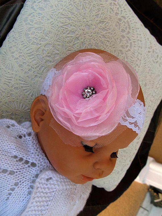 Baby Pink Flower Headband off White Lace headband New by nezoshop, $11.50