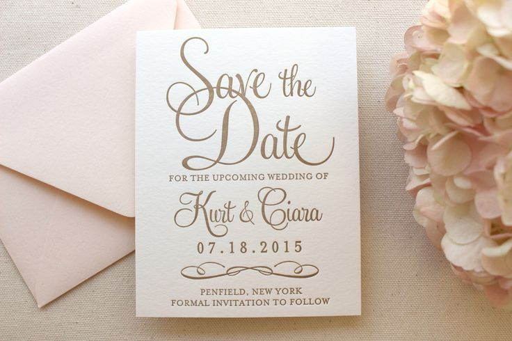The Hydrangea Suite - Letterpress Wedding Save the Date - Gold, White, Blush, Pink, Modern, Traditional, Simple, Invitation, Classic, Script by DinglewoodDesign on Etsy https://www.etsy.com/listing/231889157/the-hydrangea-suite-letterpress-wedding