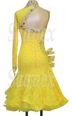 Бальные латинские румбы ча ча Самба UK8/US6 танец платье #L2411 желтое кружево