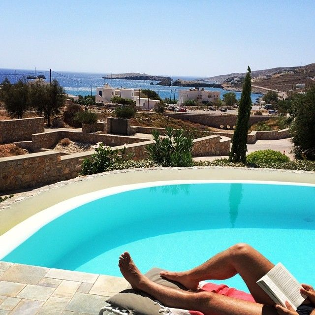 Relaxing by the #pool, with #Folegandros view!  Photo credits: @matthiasschneider