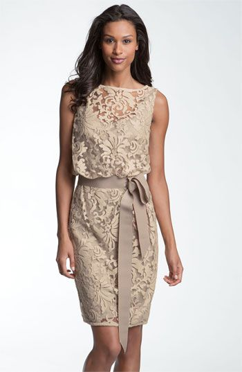 Tadashi Shoji Lace Overlay Ribbon Dress available at Nordstrom- wedding guest dress