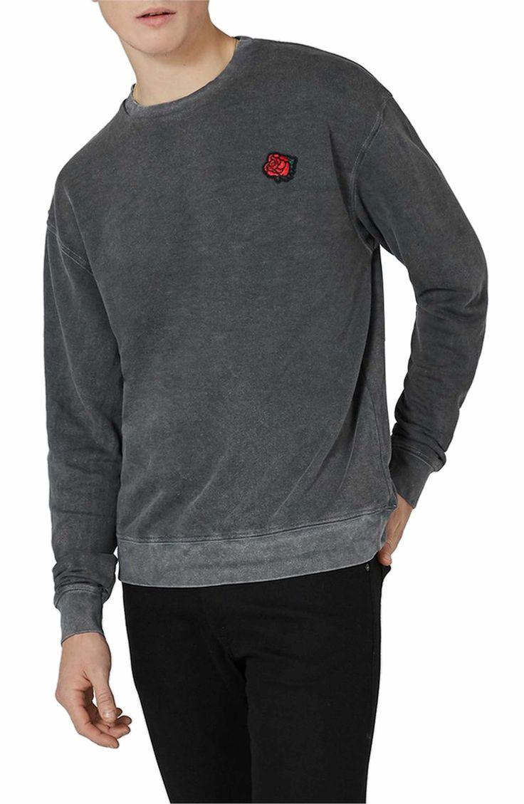Main Image - Topman Percy Rose Embroidered Sweatshirt
