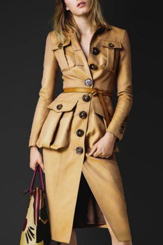Stylish Turn-Down Collar Long Sleeve Button Design Belted Women's Coat