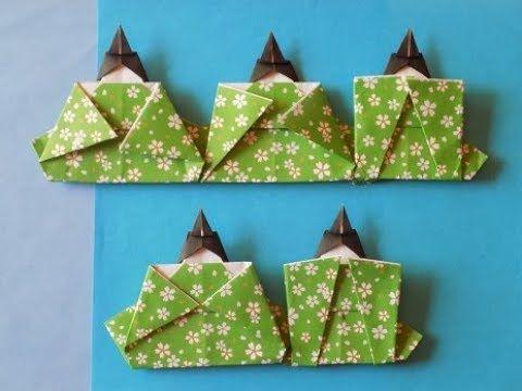 折り紙の雛祭り 五人ばやし 簡単な折り方作り方 - YouTube